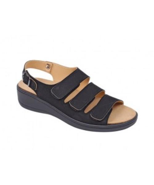 Damen orthopädische Sandale mit Wechselfussbett schwarz