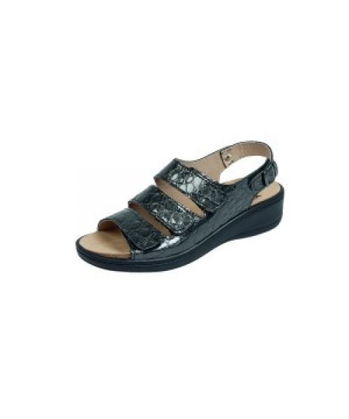 Damen orthopädische Sandale mit Wechselfussbett grau kroko