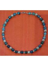 Edelsteinkette blaue Turmaline, geknotet