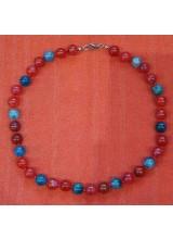 Edelsteinkette blaue und rote Turmaline, geknotet